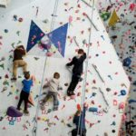 kids in winter sports climbing class